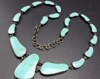 Vintage SOUTHWESTERN Sterling Silver & TURQUOISE Inlay NECKLACE
