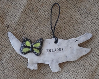 Alligator Ornament - Bonjour - Hello - Alligator - Butterfly - Alligator with butterfly - pottery - ceramic - ornament