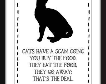 Eddie Izzard Cat Quote Art Print, A3/A4/A5/11 x 14/8 x 10/5 x 7 Typography Art for Cat Lovers