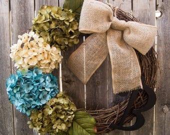 Spring Wreath, Hydrangea Wreath, Teal Decor, Grapevine Wreath, Rustic Decor, Front Door Wreaths