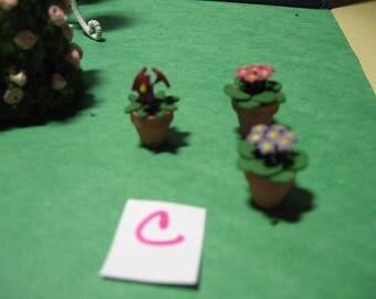 Reserve for Karen--Dollhouse, miniatures, fairyland, garden, plants, terra cotta pots, rose, carnation, flower (Patio Garden 1)