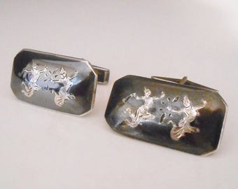 Siam Sterling Niello Cufflinks Cuff Links Goddess Makkala