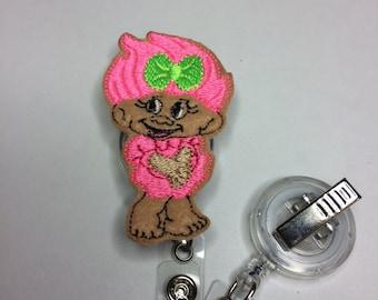 Kewpie felty badge cover-medical badge reel-troll felty-nurse badge reel-pediatric nurse badge  over-kewpie doll-troll badge cover