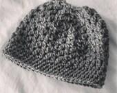 Handmade Crochet Gray Bunhat, Messy Bun Hat