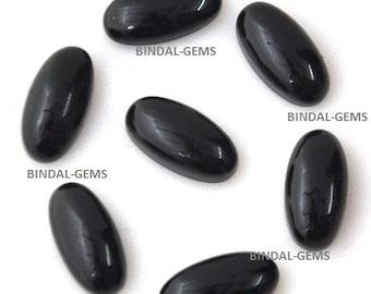 10 Pieces Wonderful Lot Black Onyx Long Oval Shape Loose Cabochon Gemstone