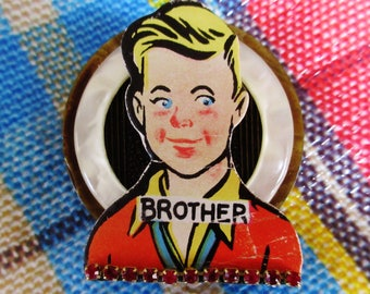 """OOAK Go to the Head of the Class """"BROTHER"""" Brooch - Retro!"""