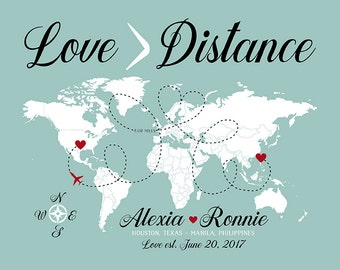 Love is Greater Than Distance World Map Gift, Long Distance Relationship, Dating Anniversary, Closing the Distance, Overseas Love | WF264
