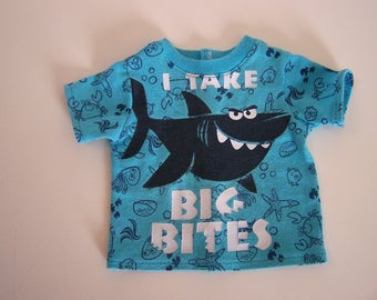Up-Cycled Big Bites Shark T Shirt - Fits 18 inch Girl and Boy dolls