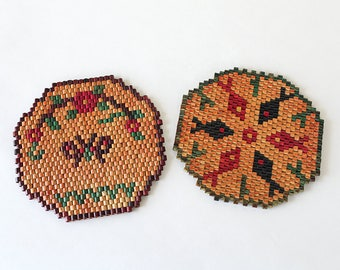 Pair of Beaded Vintage Hot Plate Pot Holders Trivets from Mexico