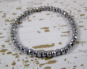 Hematite Beaded Bracelet , Silver Hematite Bracelet, Hematite Stretch Bracelet, Beaded Stretch Bracelet, Womens Beaded Bracelet