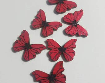 Red Butterfly Buttons