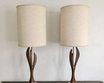 Mid-Century Pair of Sculptural Walnut Table Lamps