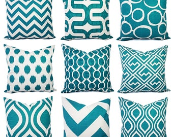 One Couch Pillow Cover - One Turquoise and White Pillow Cover - Decorative Throw Pillow - Aqua Cushion Cover - Teal Accent Pillow