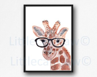Geek Giraffe Print Watercolor Animal Print Painting Giraffe With Glasses Nerd Wall Art Print Unframed Wall Decor