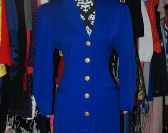 ON SALE 80's Cobalt Blue Statement Coat/Blazer