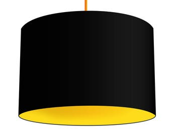 Black Linen Fabric Drum Lampshade With Contrasting Citrus Yellow Cotton Lining, Small Lampshade 20cm - Large Lampshade 40cm or Custom Size