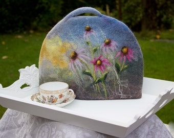 Felted Tea Cosy  wool coffee pot cosy teapot cover teapot warmer pink daisy grey blue yellow exclusive Gift under 60