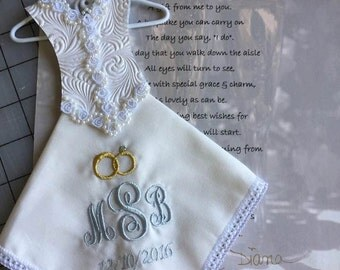 Embroidered/Personalized Bridal Hanky /Bridal Gown