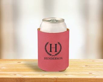 Personalized Pink Leatherette Engraved Beverage Can Sleeve, Custom Engraved Cozie