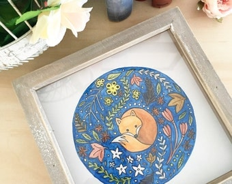 Fox drawing / folk art / fox illustration / flowers and plant / scandi / box framed/ wall art/ Home decor/ colourful/ floral/ patterned