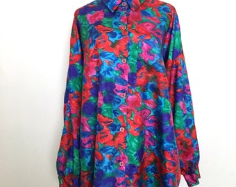 Psychedelic floral print oversized blouse