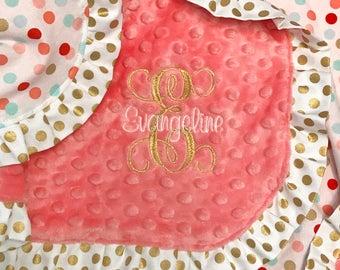 Polka Dot and Minky Dot Baby Blanket