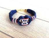 Tribal Bracelet, 4 July Bracelet, Ethnic Bracelet, Boho Bracelet, Gypsy Jewelry, Hippie Bracelet, Beaded, Cuff Bracelet, Peyote Jewelry