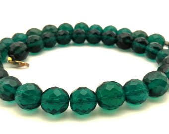 Necklace Vintage Crystal Czech Faceted Round 1 1.0 MM Wonderful Green Emerald Color