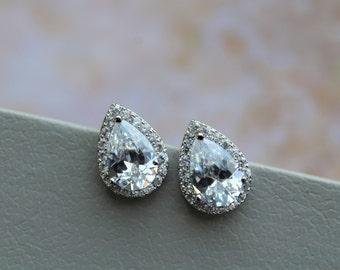 Set of 3,4,5 Crystal Teardrop Earrings, Bridal Earrings, Crystal Bridal Earrings, Bridal Jewelry, Crystal Dangle Earrings, Wedding Jewelry