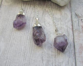 Amethyst Point Pendant - Raw Rough Rock Crystal - Electroplated Necklace Silver Plated