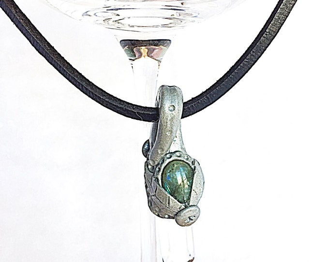 Labradorite and Crystal Quartz Silver Woodland Pendant on Black Leather Choker, Sparkly Gray and Green Labradorite and Quartz