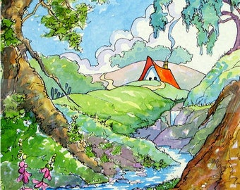 5 by 7.5 print from original watercolor cottage painting Storybook Cottage Series- Home in Nature