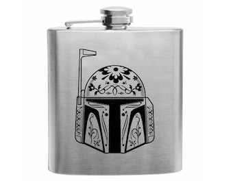 Day of the Dead Boba Fett, Star Wars, Hip Flask, Flask, Printed Flask, Boba Fett Helmet, Star Wars Flasks, Bounty Hunter, Printed Flasks