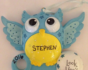 Owl Baby Boy's 1st Personalized Christmas Ornament