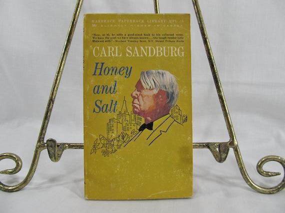 Carl Sandberg, Honey and Salt, Harbrace Paperback, Poetry Book, 1963 Vintage Book, Poems Classic Author