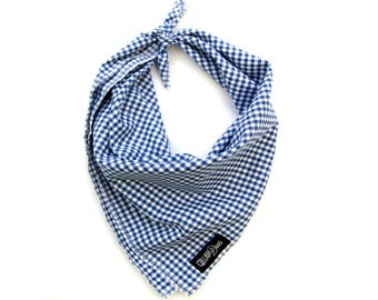 Blue Gingham Checkered Plaid Summer Dog Bandana Traditional Knot Tie Accessory Small Medium Large
