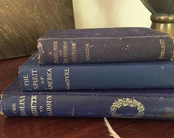 Blue Book Collection, Set of 3 Antique Blue Books, Historical, Patriotic, Religious, Blue Decor, Photo Prop, Wedding Decor