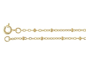14K Yellow Gold-filled Flat Oval Cable chain with Gold-filled Beads - Gold chain necklace
