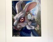 """White Rabbit (Alice in Wonderland) 11x14"""" Art Print by deShan"""