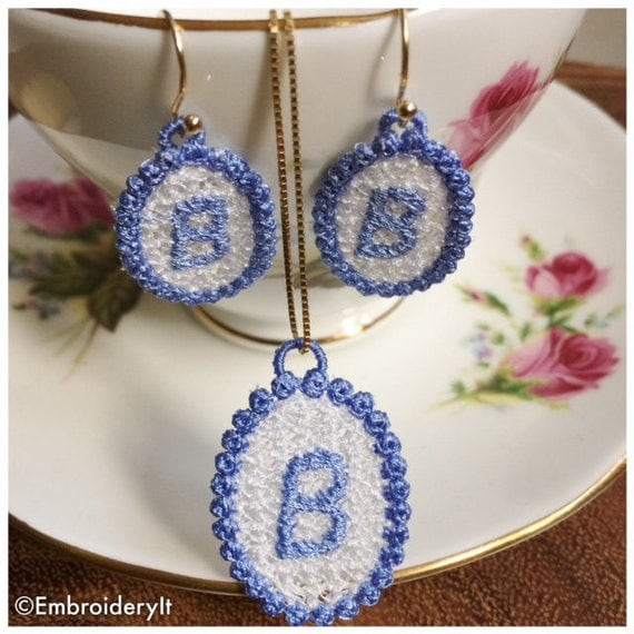 """Items Similar To Free Standing Lace Jewelry Set Letter """"B"""