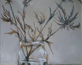 Purple Thistles in a Glass Jar- Original Still Life Oil Painting- Minimalist Floral Art- Neutral Transitional Impressionist Flower Painting