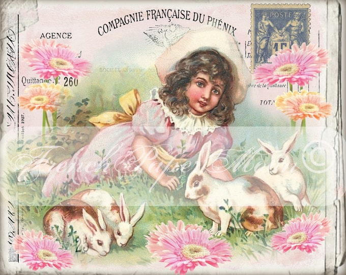 Digital Victorian Easter Girl, Bunnies, Flowers, French Graphics, Instant Download Fabric Transfer Graphic Download
