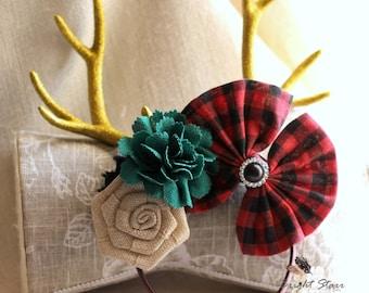 deer antler headband - reindeer antlers headband - Headband antler - antler headband - antler headpiece - realistic deer antler headband