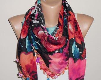 black scarf multicolor bohemion scarf fashion accessories yemeni oya scarf shawls copper boho scarf women scarf gift for her