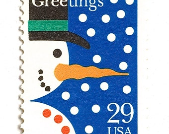 10 Unused Vintage Snowman Postage Stamps // Frosty the Snowman // Christmas Greetings Stamps for Mailing Holiday Cards