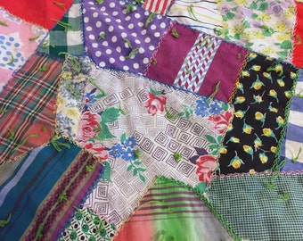 CUTTER Crazy Quilt, Vintage Hand Embroidered Handmade Tied Cotton Fabric,  Upcycle Repurpose Project