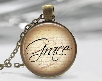 Grace Necklace or Key Chain Dictionary Jewelry Glass Dome Pendant with chain sentiments statement jewelry