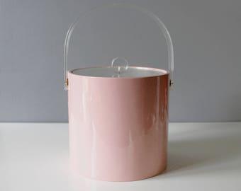 Vintage Pink Vinyl & Lucite Ice Bucket Round