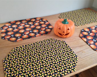 Halloween Placemats! Set of Four Reversible Placemats with Pumpkins and Candy Corn!