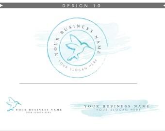 Watercolor Hummingbird Logo Design Branding Package Inc. Photography Logo Watermark - Rose Pink Script Watercolor Logo- Logo 9